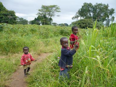 Children in a field, Sse Sse Islands, Uganda