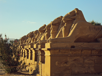 Karnak's roads are lined by ram-headed lions