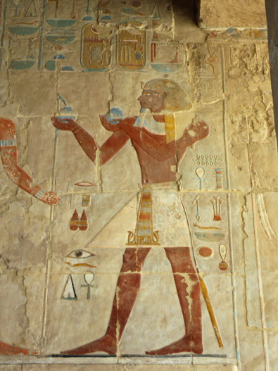 Painted hieroglyphics from the Valley of the Queens, Luxor, Egypt