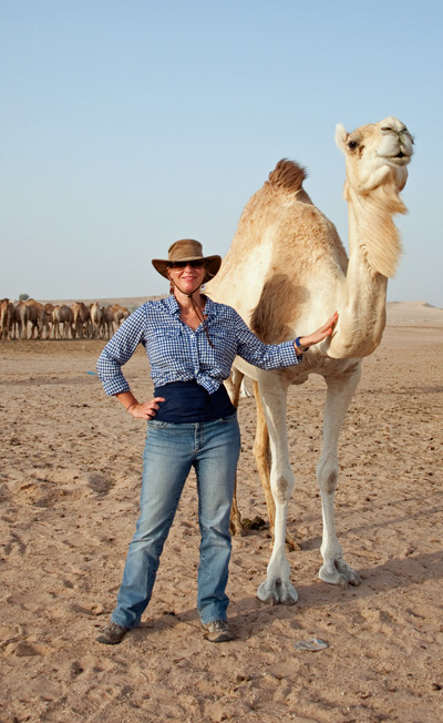 Erin as Arabian Cow Girl in the desert outside Abu Dhabi