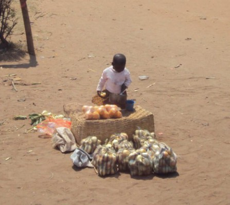 Child selling onions on side of the road, Malawi