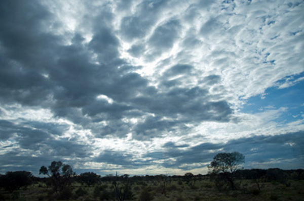 Australian Outback, Mid-morning sky taken from the famous train, The Ghan