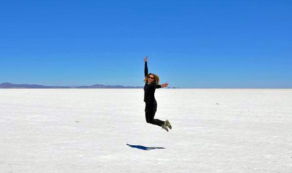 Jumping for joy in the Salar
