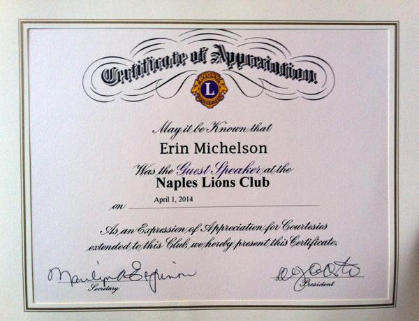 Lion Certificate