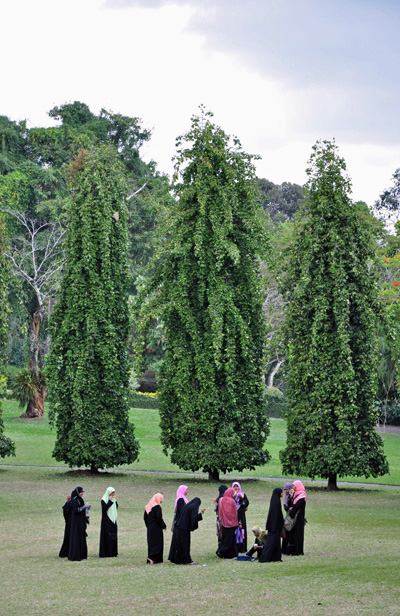 Young Muslim girls in the Botanical Gardens, Kandy, Sri Lanka