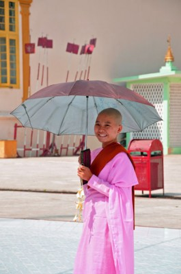 Buddhist Nan Novice dressed in Pink, Rangoon, Burma