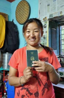 Nirma Rai with her passport