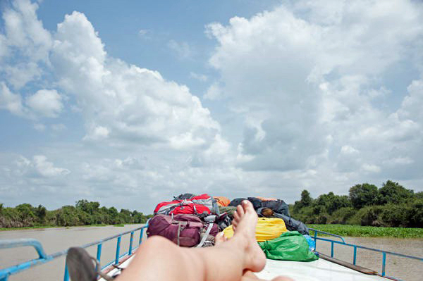 Riding on top of the boat to Battambang