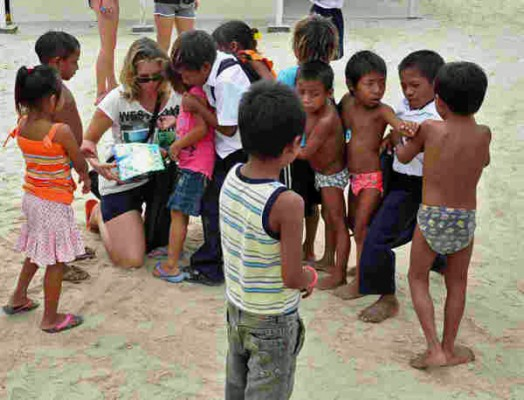 Passing out stickers in the San Blas