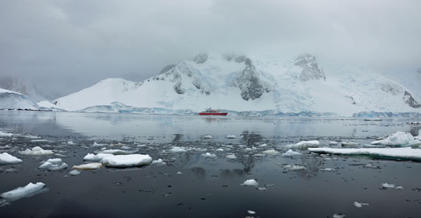 Ship in Icy Waters