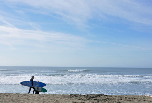 Surfers on Ocean Beach, San Francisco, California