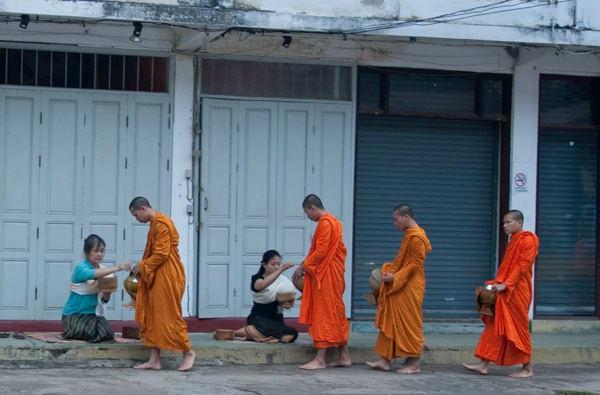 Tak Bat alms ceremony, Luang Prabang, Laos