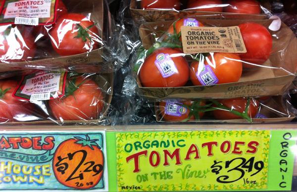 organic tomatoes, photo by GoErinGo