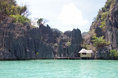 I spied this nipa hut while wreck diving off the Philippine island of Coron.