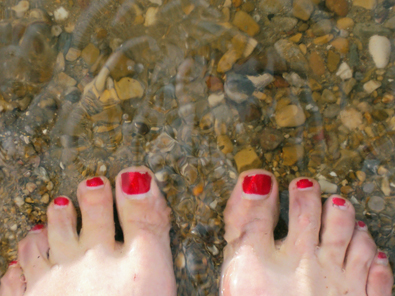 Tootsies in  the soaking Dead Sea!